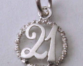 Genuine SOLID 925 STERLING SILVER 21 birthday charm pendant