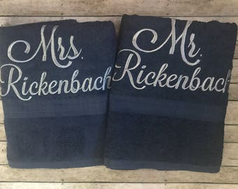 Bath Towel Set- Mr and Mrs Towels-Bath Towel Set- Wedding Towel Set-Housewarming Towel Set