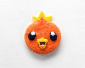 a tweety heart - exquisitely handsewn Torchic