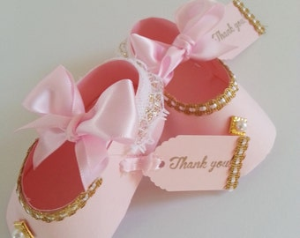 Set Of Ten Pink And Gold Shoe Favors With Thank You Tags / Baby Shower Favors / Shower For Baby Girl