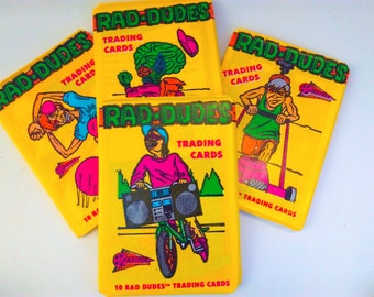 NOS, sealed, Rad Dudes trading cards, Rad Dudes, trading cards, trading card, 1990, collectable trading cards, retro, vintage  trading cards