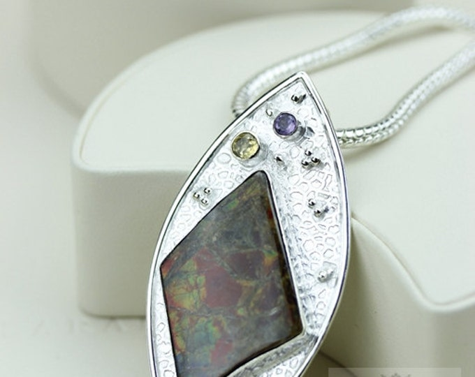 Multistone GENUINE Canadian AMMOLITE 925 Solid Sterling Silver Pendant + 4mm Snake Chain & FREE Worldwide Shipping P1506