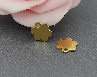 4 mini charm stainless steel 304 9 x 8 mm BR590 Gold Flower
