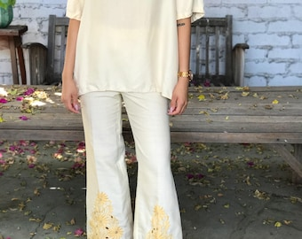 Vintage Bellbottoms Linen Embroidered Flares Buttercream Trousers Yellow High Waisted Pants