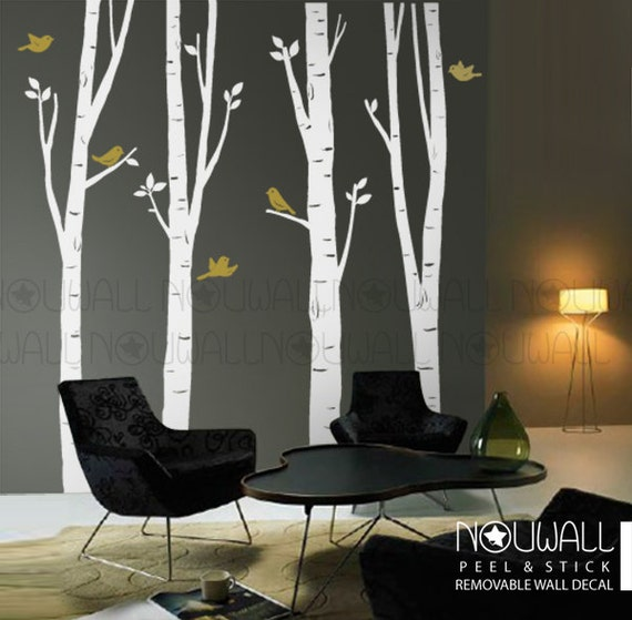 Birch Trees Wall decal with birds Wall decals Wall Sticker