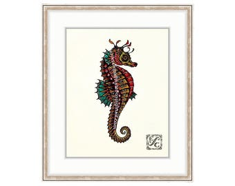 "Regal Seahorse Giclee Print of Watercolor Painting 11""x14"" For The Ocean Lover. Seahorses. Red Seahorse For Beach Houses And Coastal Decor"