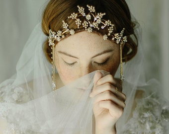 1920s bridal headpiece, flapper wedding crown, hair accessory - En Vogue no. 2198