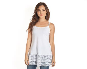 White Lace Camisole Shirt Extender