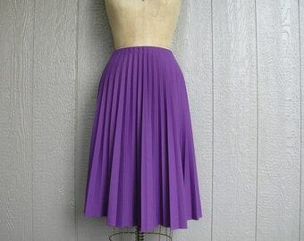 Vintage 70s BOTTOM BASIC Purple Accordion Pleated Skirt