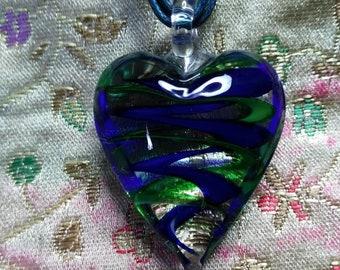 Heart Lampwork Glass -Blue & Green Swirls Pendant Necklace