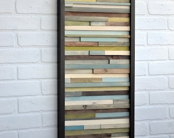 Wood Wall Art - Abstract Acrylic Painting on Wood - 3D Art - Reclaimed Wood Art - 12x36