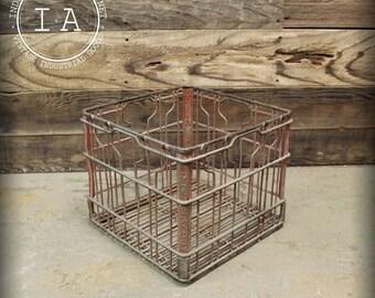 Vintage Industrial Red Dairy Fresh Metal Milk Storage Crate
