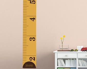 Measure Him Personalized Children's Growth Chart on Canvas - Ruler Growth Chart - Personalized - Height Chart - GC925 MEASUREHIM