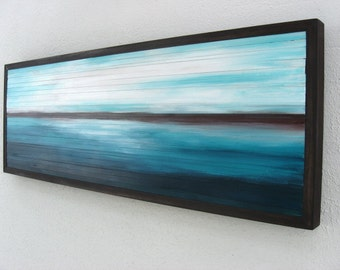 Wood Wall Art - Painted Wood Sculpture - Landscape Scenery