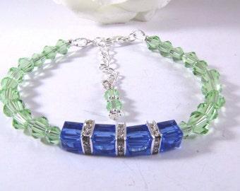 Apple Green and Blue Sapphire Cube Swarovski Bead Bracelet