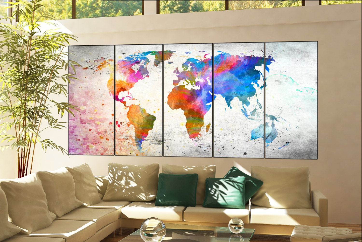 World map print on canvas wall art world map decor print artwork world map print on canvas wall art world map decor print artwork large world map home office decoration 5 panel gumiabroncs Images