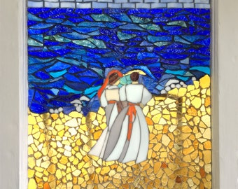 """SALE - """"By the Sea"""" - Stained Glass Mosaic Vintage Window"""