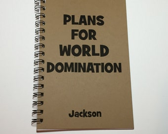 Plans for World Domination, Bullet Journal, Spiral Journal, Writing Journal, Notebook, Personalized, Custom Gift, quirky Gifts, Journal