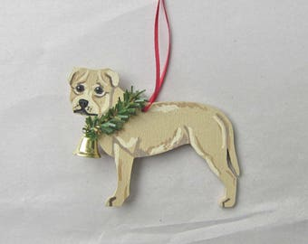Hand-Painted PITBULL TERRIER FAWN Wood Christmas Ornament...Artist Original, Christmas Tree Ornament Decoration
