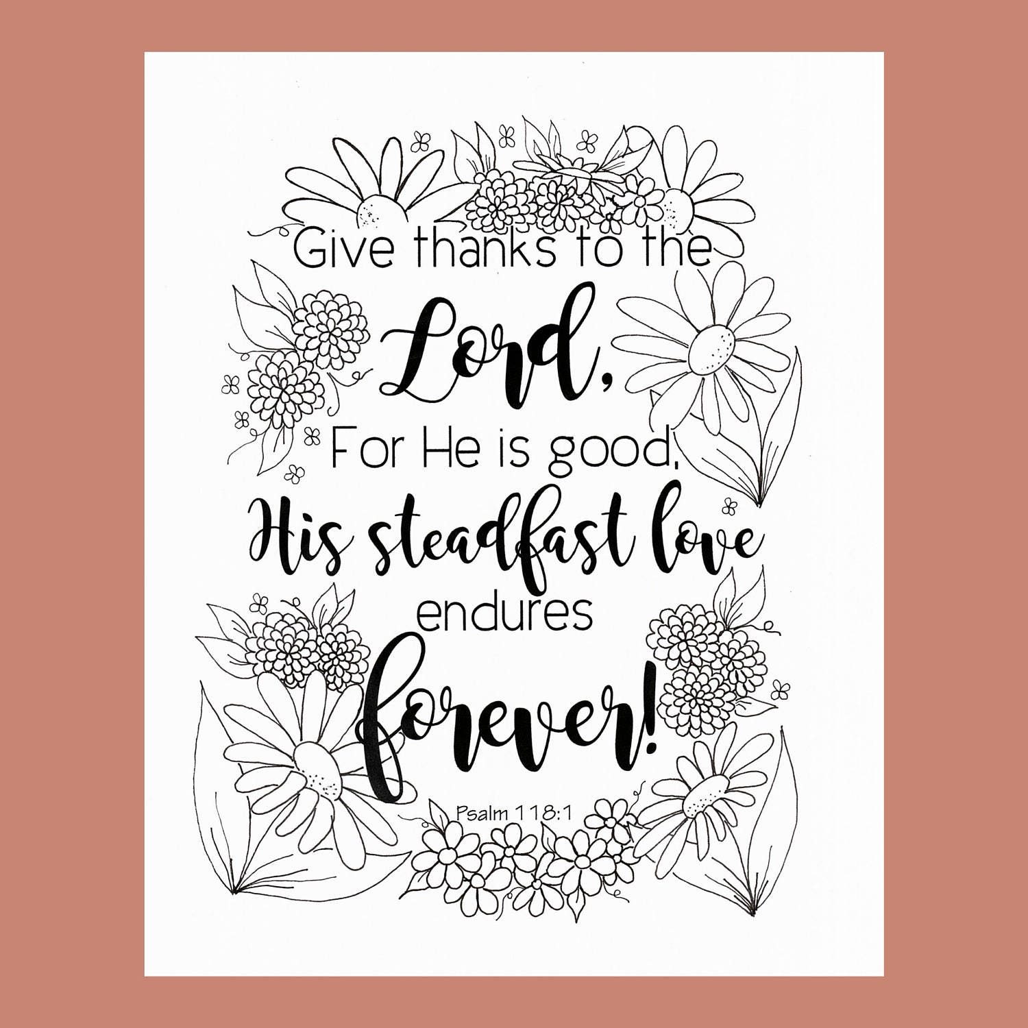 Give Thanks Coloring Page Psalm 118:1 Bible Verse Coloring