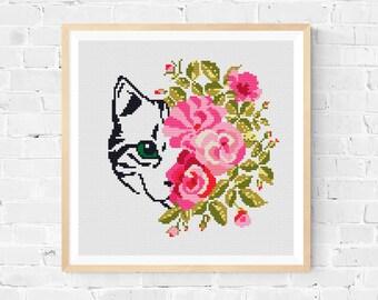 Cat Cross Stitch Pattern / Modern Cross Stitch Pattern / Cat Embroidery / Floral Cross Stitch Pattern / Funny Cross Stitch Pattern / PDF