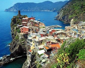 Italy Photography - Cinque Terre - Italian Riviera - Beach - Vernazza - Colorful - Mediterranean - Fine Art Photograph Print - Home Decor