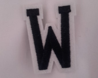 W iron on patch