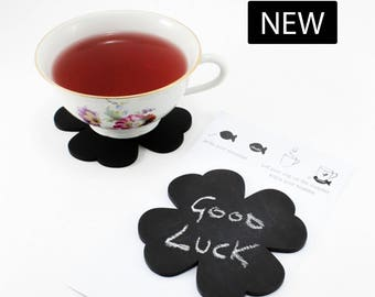 Black four-leaf clover coaster, saucer, placeholder, blackboard with chalk – 2 PCS SET – kitchen home decor, table decor, party, wedding