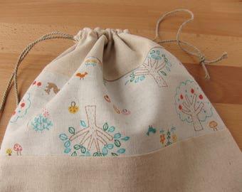 Rainbow Woodland Drawstring Project Bag