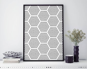 Abstract Honeycombs wall art abstract dots art Geometric large wall art Vertical wall art Black and White