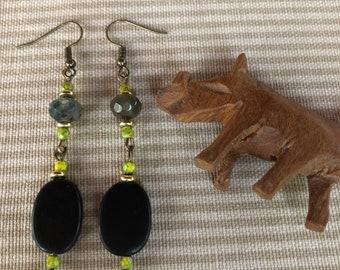 Oval Black Horn,Moss Agate and Yellow Nebulous Luster Earrings (ER - #016)