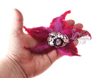 Pink floral star felt hair jewelry clip textil art brooch fiber art flower