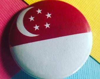 Singapore Flag Pinback Button, Singapore Flag Magnet, Singapore Flag Keychain, Singapore Flag Backpack Pin, Singapore Flag Badge, Lapel Pin