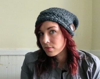 Chunky Knit Button Hat--Charcoal Gray