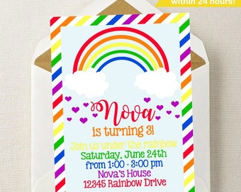 Rainbow Birthday Invitation // Rainbow Invitation // Rainbow Birthday Party // Bright Rainbow Invite // Under the Rainbow Invite // Rainbows