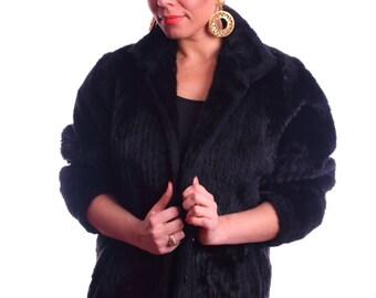 SALE! Faux Fur Black Coat