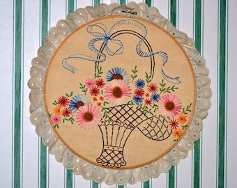 Vintage Hand Embroidered Flower Basket Framed Wall Hanging