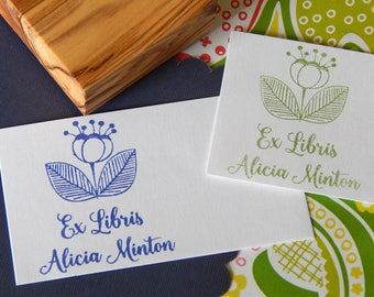 Custom Full Bloom Bookplate Olive Wood Stamp
