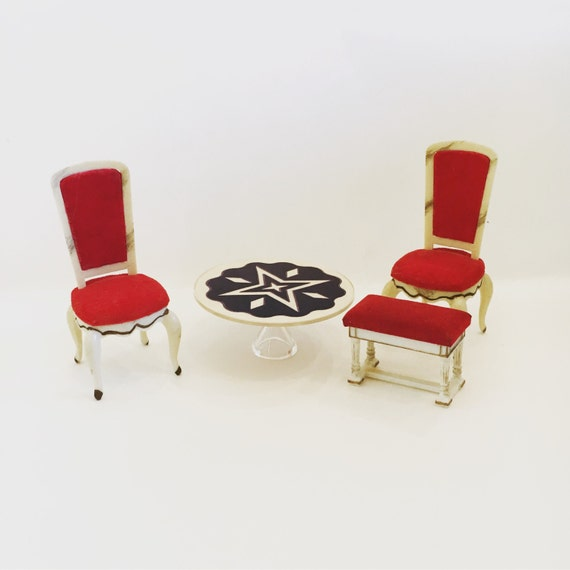 Vintage Miniature Dollhouse Mid Century Set of Living Room Chairs with Ottoman and Coffee Table