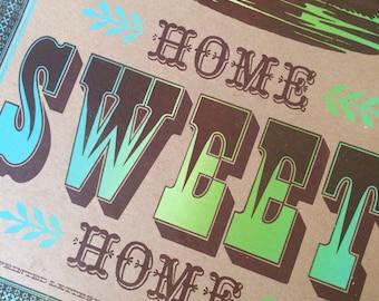 HOME SWEET HOME, housewarming gift, wall art, letterpress poster, travel trailer art, Airstream decor, camper decor, hostess gift, art print