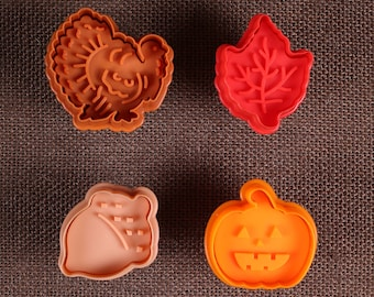 Thanksgiving Cookie Cutters, Fall Cookie Stamps, Fall Cookie Cutters, Pie Crust Cutters, Pumpkin Cookie Cutter, Acorn Cookie Cutter