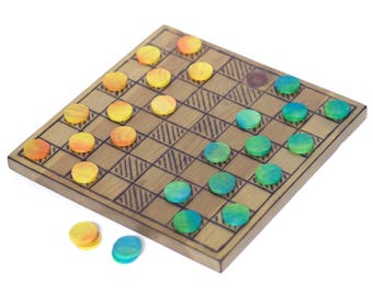 Wood Game Board - 2-in-1 - Checkers/Tic Tac Toe - Antique Stain