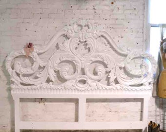 Painted Cottage Chic Shabby Romantic French One of a Kind  French Provincial King Headboard BD825