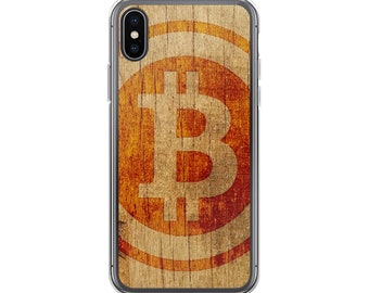 Bitcoin iPhone Case Wood Texture Cryptocurrency Blockchain Case for iPhone X, iPhone 8, iPhone 7, iPhone 6