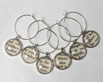 Anne of Green Gables Wine Glass Charms Set Anne Shirley Gilbert Blythe Silver - Homewares Barware Bookworm Foodie Gift - Bookish For Women