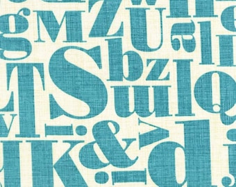 Letterpress in Teal from Just My Type by Patty Young for  Michael Miller Fabrics