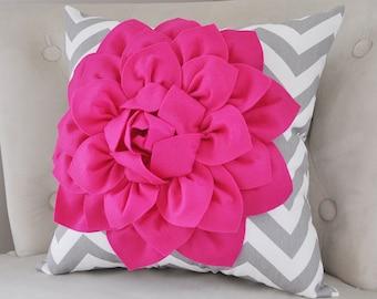 PILLOWS Hot Pink Dahlia on Gray and White Zigzag Pillow -Hot Pink Pillow Decorative Throw Pillow- Fuchsia Pillow