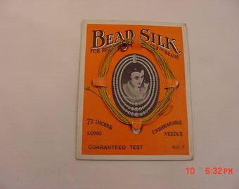 Vintage ONS Bead Silk For Restringing Pearls Or Beads On Original Sales Card  18 - 82
