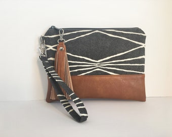 Gray Tribal Wristlet, iPhone wristlet, Vegan Leather Clutch Purse, Cellphone Wristlet, Boho Zipper Pouch, Gift For Her (ready to ship)