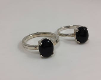 Black Onyx Ring  / Argentium Silver Ring / Silver Ring / Size 6 US or 7 1/2 US